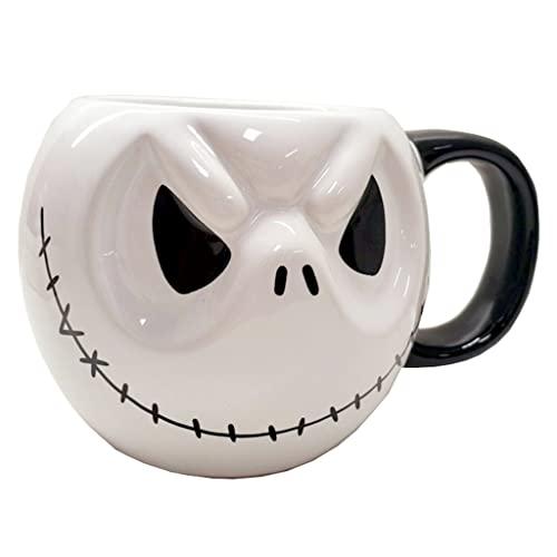 Taza con Forma De Calavera De Gran Capacidad De Halloween Taza De Cerámica con Asa Taza De Café para Uso Doméstico Taza De Agua Creativa (Color : White(B), Size : 16 * 9cm)