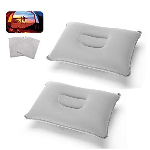 Almohada hinchable de camping para viajes, color gris, 2 unidades
