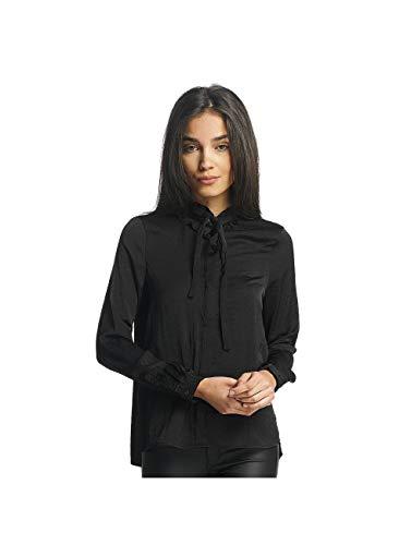 VERO MODA Damen VMLILJE L/S Satin Shirt Bluse, Schwarz (Black Black), 36 (Herstellergröße: S)