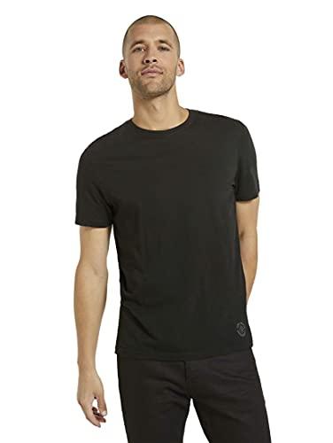 TOM TAILOR Herren Doppelpack Crew Neck T Shirt, Schwarz (Black), XXL EU