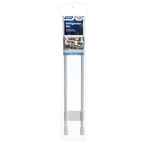 """Camco 34"""" Double RV Refrigerator Bar, Holds Food and Drinks in Place During Travel, Prevents Messy Spills, Spring Loaded and Extends Between 19"""" and 34"""" - White (44074)"""