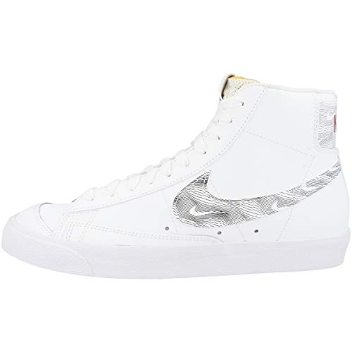 Nike Sneaker da uomo Mid Blazer Mid '77, Bianco (White Black University Red Dh3985 100), 46 EU