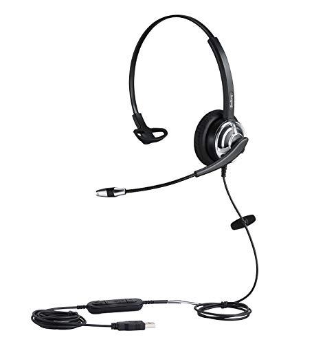USB Headset Telefon PC Kopfhörer Skype Lync Headset mit Noise Cancelling Mikrofon für die UC Spracherkennung Teach Online