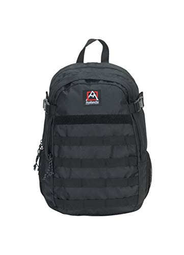 Avalanche Outdoors 22 Liter Tactical Utility Sports Hiking Backpack with Water Bottle Pockets and Velcro Strip Black