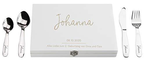LAUBLUST Kinderbesteck mit Gravur - inkl. Personalisierte Geschenkbox aus Holz | Esslernbesteck Edelstahl, 4-TLG - Geschenk mit Namen für Kinder - Erinnerung an Baby & Kinderzeit | Serie: Niers