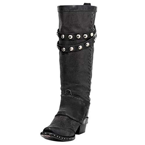 retro predominante Moda botas altas negras tacon alto