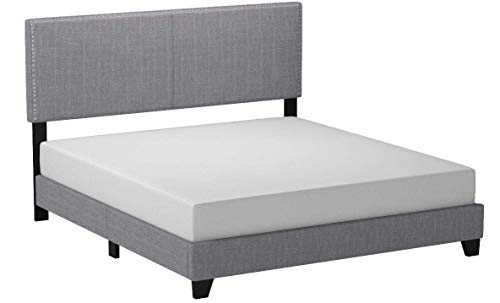 Crown Mark Erin Upholstered Panel Bed in Gray, King