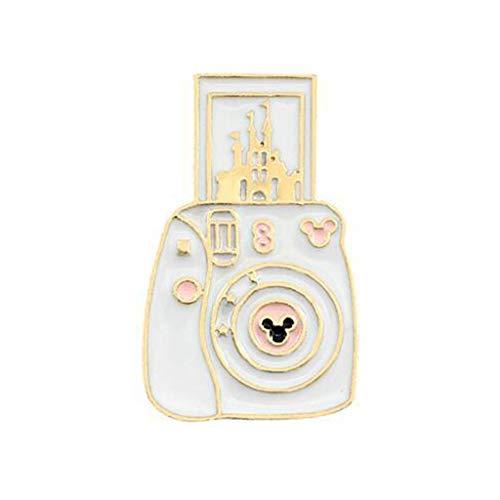 MSEKKO Broche de dibujos animados Broche de dibujos animados Cámara linda Forma de castillo Broche de aleación Ropa ligera Pin Insignia Esmalte Vestidos de solapa Sombrero Bufanda Decoración Accesorio