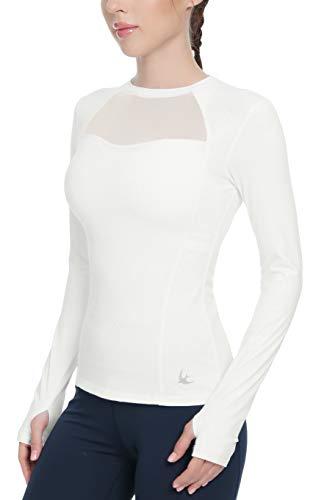 QUEENIEKE Mesh Sport Top Langarm Laufshirt für Frauen Slim Fit Farbe Weiß Größe S