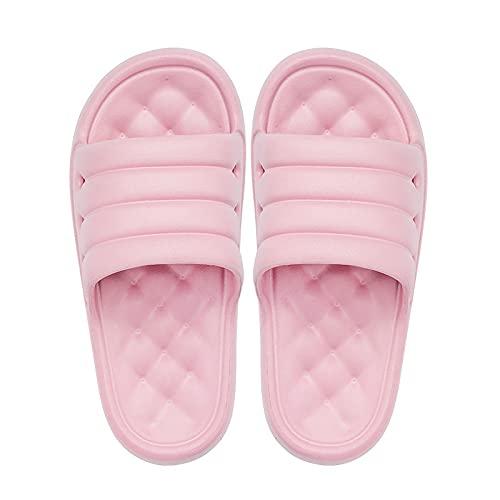 NUGKPRT chanclas,Bonitas zapatillas para el hogar de color caramelo, plataforma de 3,5 cm, fondo grueso, suaves, antideslizantes, suelas demasaje, hombres,mujeres, zapatos de baño 44-45 rosa