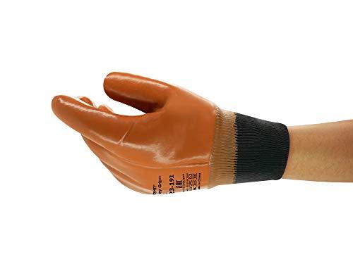 Ansell Winter Monkey Grip 23-191 Guanti da Lavoro Multiuso, Rivestimento PVC Repelle Olio e Grasso, Presa Eccellente, Resistente al Freddo, Protezione Meccanica, Taglia XL (12 Paia)
