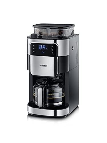 SEVERIN KA 4813 ekspres do kawy z filtrem, z mechanizmem mielącym ze stali nierdzewnej, najdrobniejsze mielenie i indywidualnie wybierany stopień mielenia, 1000 W, do 10 filiżanek / ok. 1,25 l