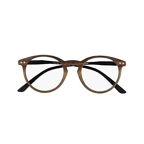 Lesebrille Herren und Unisex – Runde Gläser - Leichte, Robuste und Bequeme Lesebrille - + 1,25 Dioptrie – Für Damen und Herren - Brown & Black - Silac - Wood & Black 7602