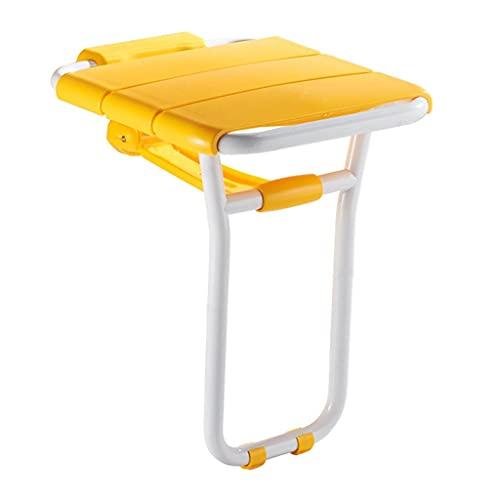 Apoyabrazos Baño Plegable Asiento/Ancianos Taburete de baño/Banco de Zapato/Tubo de Acero Pintado/óxido y Teniendo hasta 300 kg de presión/Carga (Color : Yellow, Size : 36 * 41 * 48cm)