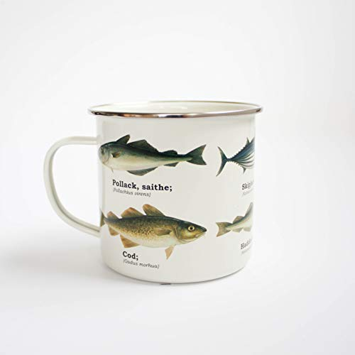 Ecologie Multi Species Fish Enamel Mug, Tin, White, One Size