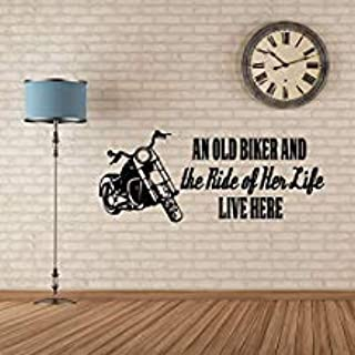Qiu1936 Biker Grandma Gift for Women,'an Old Biker and The Ride of HER Life Quote,Motorcycle Image,Vinyl Decal Home Decor