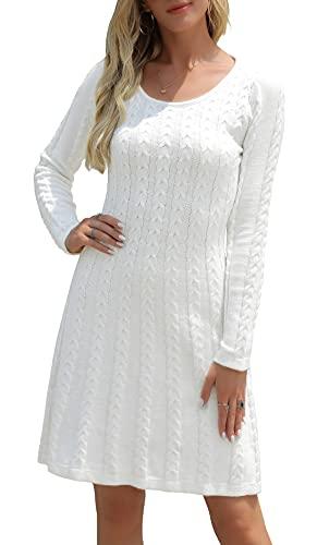 Neitooh Damen Strickkleid Pulloverkleid Elegant Winterkleider Langarm Einfarbige Rundkragen Minikleid Winter Langarm,Weiß,S