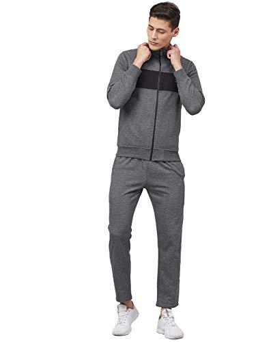CHKOKKO Men Winter Track suit Cotton Fleece Zipper Hooded