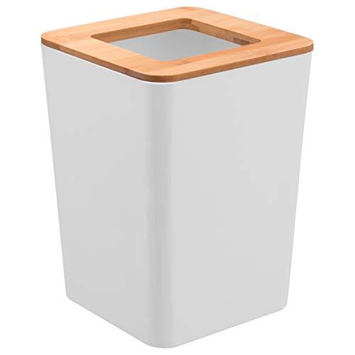 bremermann Kosmetikeimer Calvi aus Bambus und Kunststoff // Abfalleimer // Mülleimer 5,5 Liter (weiß)