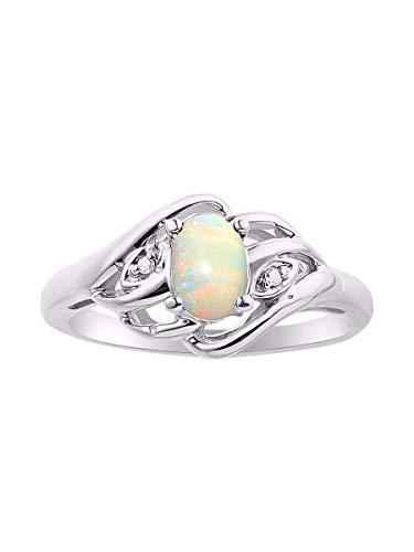 RYLOS Anillo para mujer con piedras preciosas de forma ovalada y diamantes brillantes auténticos en plata de ley 925-6 x 4 mm