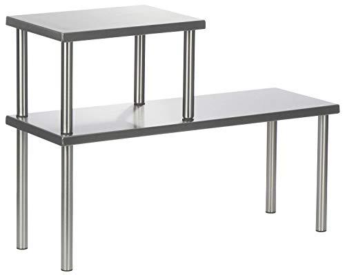 COM-FOUR® Estante de cocina de 2 etapas de acero inoxidable con pies de goma antideslizantes