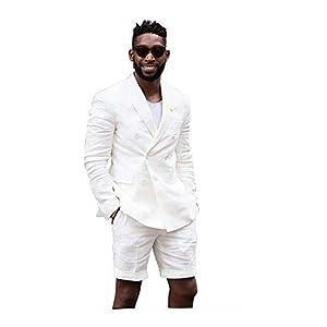 Mens Casual White Linen Tailored Beach Wedding Slim Fit Tuxedo Suit Blazer & Shorts Set