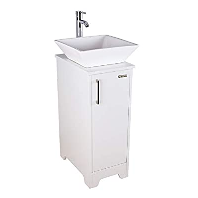 """eclife 14"""" Bathroom Vanity and Sink Combo White Small Vanity Ceramic Vessel Sink & 1.5 GPM Water Save Faucet & Solid Brass Pop Up Drain (A07B08W)"""