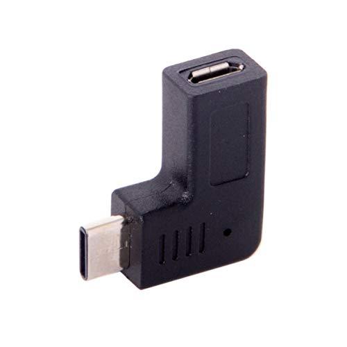 Timetided USB-C Type-C Macho a Micro USB Adaptador de Datos Hembra Tipo en ¨¢ngulo de 90 Grados Negro