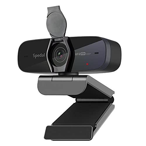 Webcam 60fps 1080p con Microfoni & Copertura - Spedal USB Webcam con Messa a Fuoco Automatica per Xbox Skype Facebook OBS XSplit Zoom, Streaming Camera Compatibile con Linux Mac OS Windows 10/8/7