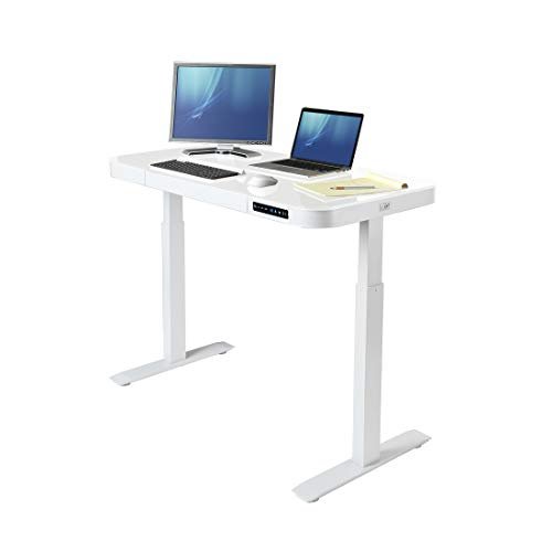 "Seville Classics Airlift Tempered Glass Electric Standing Desk with Drawer, 2.4A USB Ports, 3 Memory Buttons (Max. Height 47"") Dual Motors, White Top"