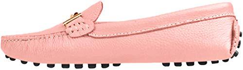 MGM-Joymod Mocasines para mujer de moda, cómodos, de cuero, hebilla de metal, para conducir, para barco, mocasines, zapatos sin cordones