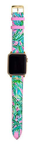 Lilly Pulitzer Correa de reloj de piel auténtica de tamaño para adaptarse a relojes inteligentes de 38 mm y 40 mm, compatible con Apple Watch Series 1-6, Suite Views.