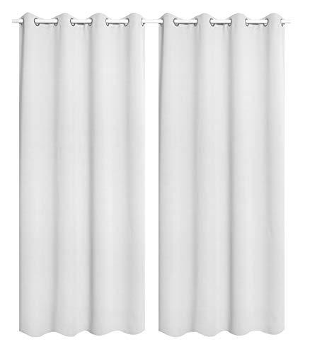 WOLTU VH5865ws-2, 2er Set Gardinen Vorhang Blickdicht mit Ösen, leichte & weiche Verdunklungsvorhängen für Wohnzimmer Schlafzimmer Tür, 135x245 cm, Weiß (Hinter: Grau)
