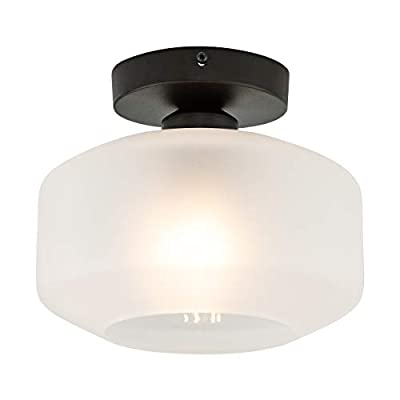 Industrial Ceiling Light Fixture with Clear Glass Shade Semi-Flush for Dining Room, Bedroom, Cafe, Bar, Corridor, Hallway, Entryway, Passway
