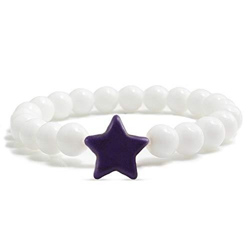 ZKZDSL Stein Armband,Männer Und Frauen Naturstein Star Armband Handgefertigten Paar Fitness Strand Armband Paar Schmuck Weiß