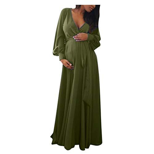 Vectry Vestidos Premama Mujer Embarazadas Maternidad con Cuello En V Manga Larga Volantes Sólidos Frenillo Sexy Vestido 2019 Vestidos De Fiesta Cortos Elegantes Vestido