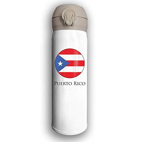 Bestqe Taza Térmica,Termo de Café de Acero Inoxidable,Botella Puerto Rico Circular Logo Prueba de Fugas Taza de Café Térmica 17 Oz