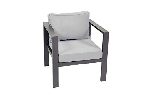 """Tortuga Outdoor Lakeview Club Patio Chair, 27.5"""" W x 25.5"""" D x 26.25"""" H, Grey"""