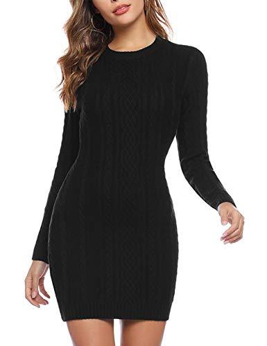 Akalnny Vestidos de Mujer Corto Ajustado de Punto Suéter de