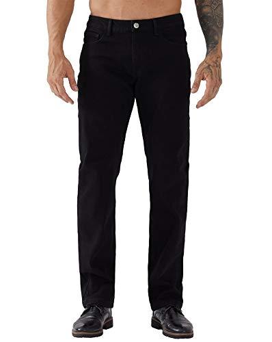 ZLZ Regular Fit Denim Jeans for Men, Mens 5-Pockets Classic Straight Leg Jean Pants Black