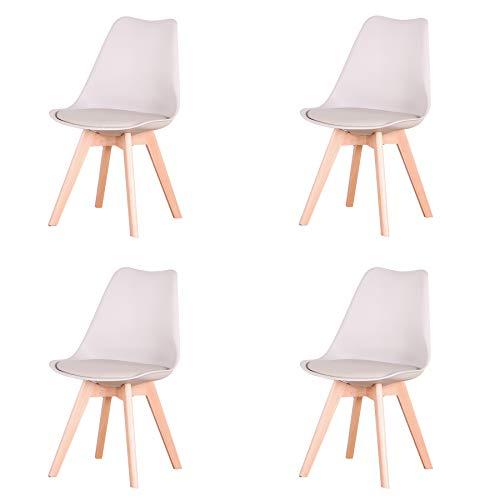 Uderkiny Conjunto de 4/6 sillas Sillas de Comedor con Cojines y Patas de Haya aptas para Comedor salón Cocina Oficina, etc (Pack 4, Beige)