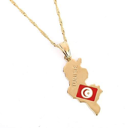 Collares de acero inoxidable Collar con colgante de mapa de Tunisie, collar con colgante de mapa de regalo de joyería de moda de Túnez para mujer y niña de color dorado, regalo para hombres y mujeres
