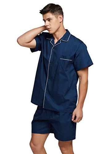TONY AND CANDICE Men's Cotton Pajamas, Short Sleeve Pajama Set Woven Button-Down Sleepwear Loungewear Nightwear (Navy Blue, Medium)