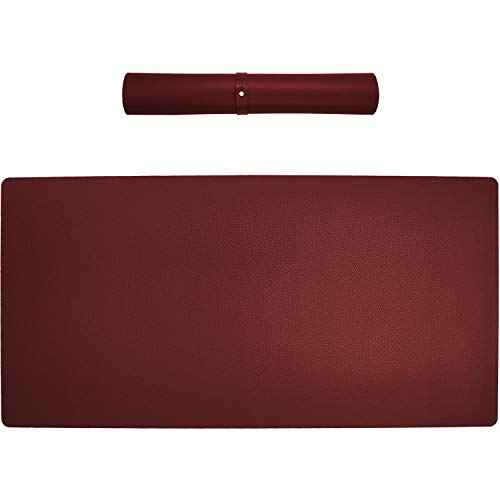 """Price comparison product image Computer Desk Pad,  Multifunctional Large PU Leather Mouse Desk Cover Mat,  Laptop Desk Mat,  Waterproof Desk Writing Pad for Home and Office Decor (Dark-Red,  35.5""""x16.9"""")"""
