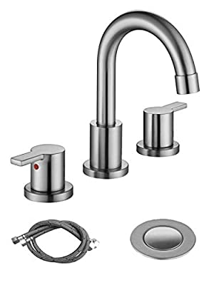 RKF Two Handle Widespread Bathroom Sink Faucet with Pop-up Drain with overflow and CUPC Faucet Supply Hoses,Brushed Nickel,WF015-9-BN2