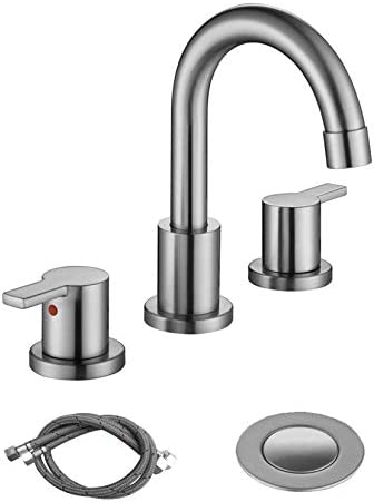 RKF Two Handle Widespread Bathroom Sink Faucet with Pop up Drain with overflow and CUPC Faucet product image