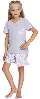 Merry Style Pijama Manga Corta Camiseta y Pantalones Ropa Niña MS10-292(Melange/Unicornios, 116 cm)