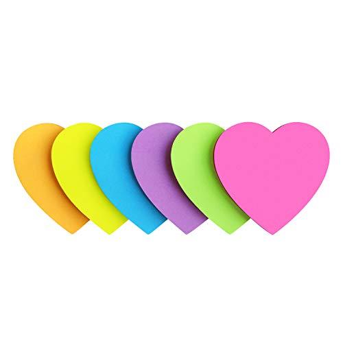 Heart Shape Sticky Notes 6 Color Bright Colorful Sticky Pad 75 Sheets/Pad Self-Sticky Note Pads