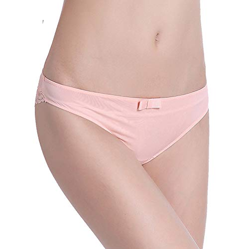 Buy and buy at Brandon Ice Silk Seamless lace Panties Female Hollow sexy Low Waist Cotton 裆 Women's underwearA-1PinkA-1XL
