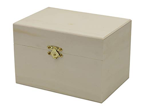 Creative Hobbies Ready to Decorate Wooden Recipe Box with Hinged Lid and Front Clasp - Make Your Own Gift, Jewelry, Photo Box